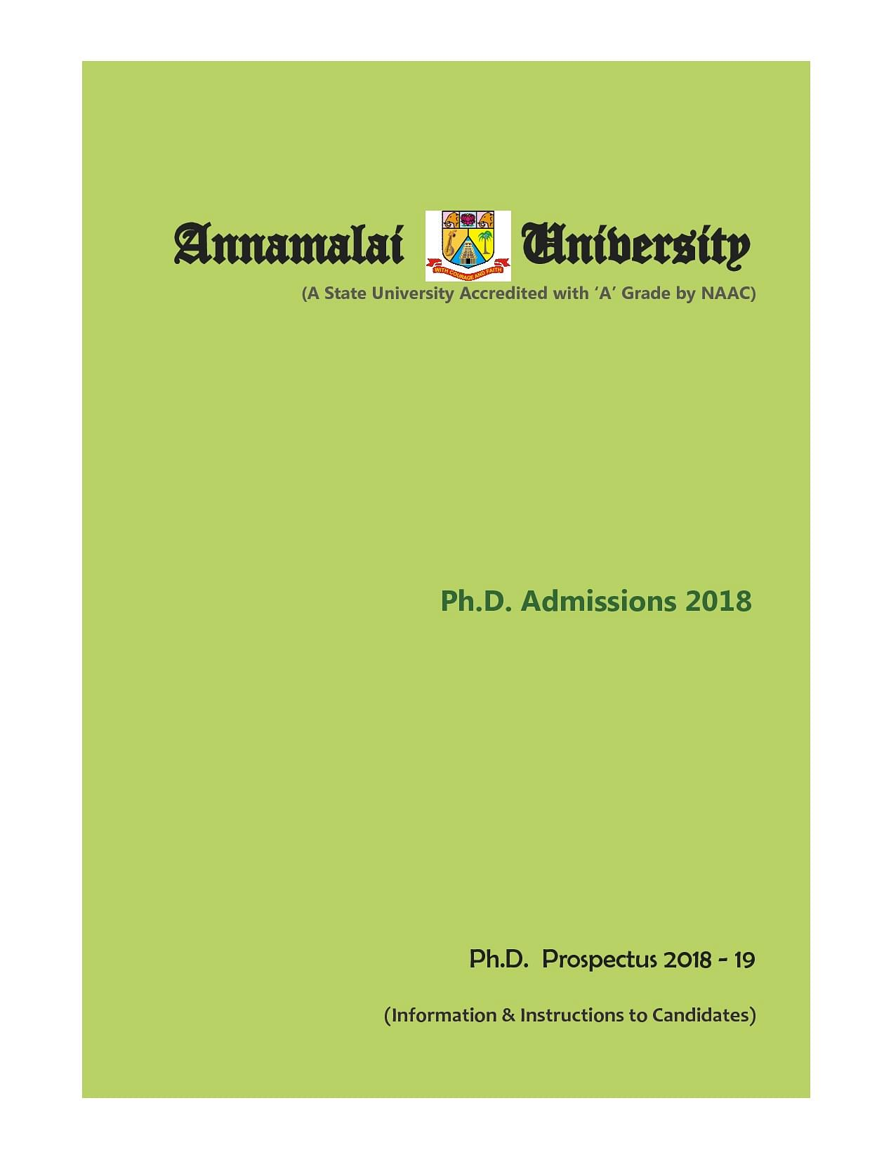 Annamalai University Courses Fees Eligibility Admission Cut Off Dde